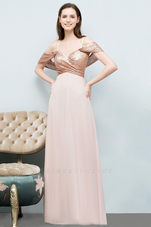 A-line  Sequins Straps Sweetheart Sleeveless Floor-Length Bridesmaid Dresses