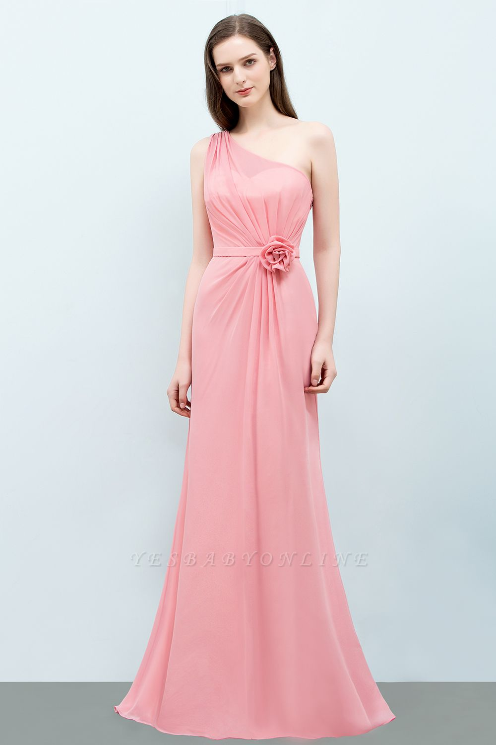 Mermaid  One-shoulder Sleeveless Ruffled Floor-Length Bridesmaid Dresses with Flower