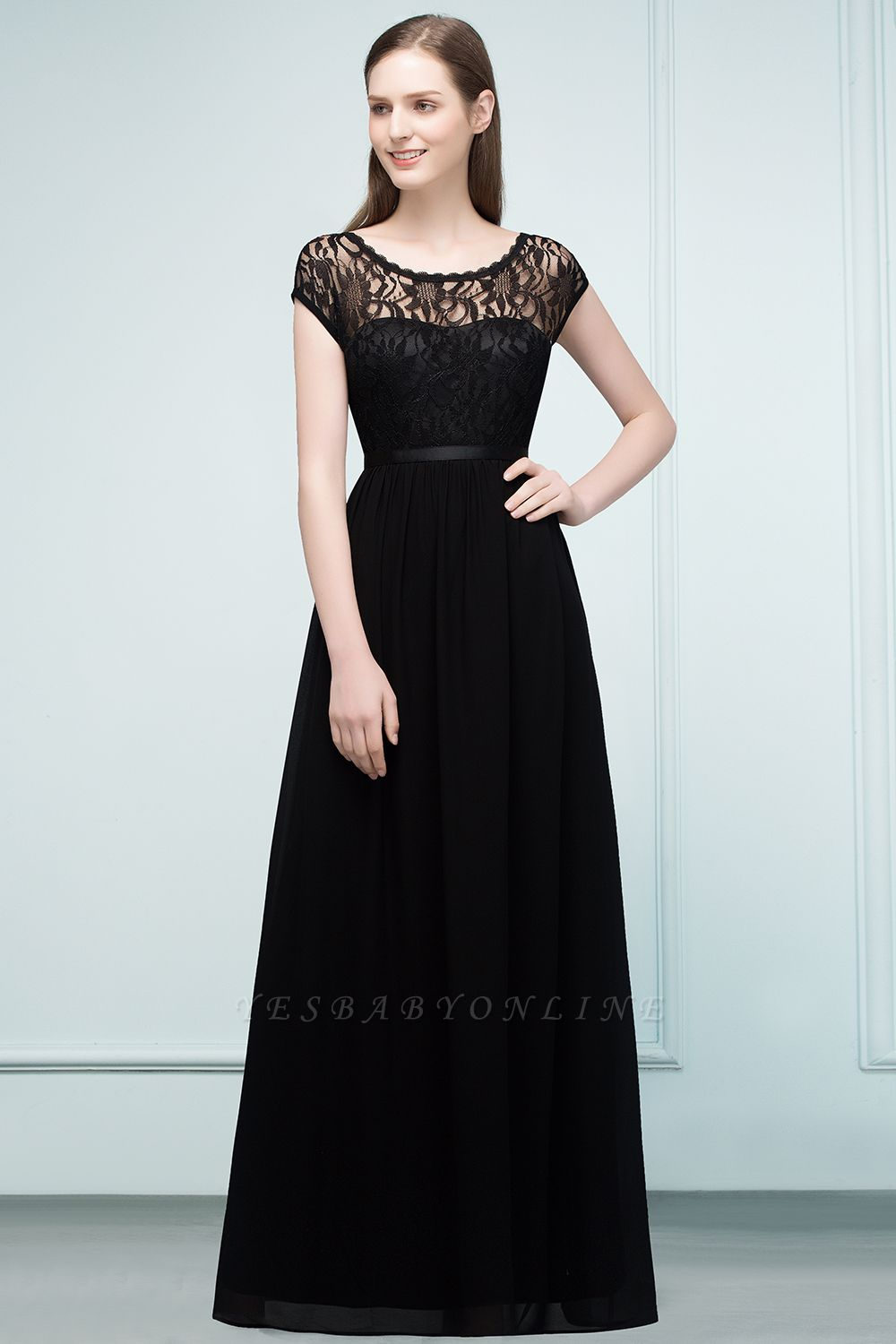 A-Line  Lace Jewel Short-Sleeves Floor-Length Bridesmaid Dresses with Sash