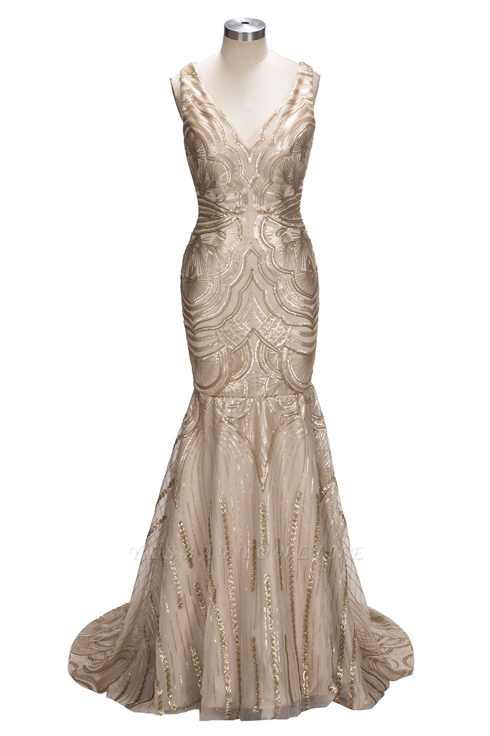 V-neck Sequins Gold Sexy Deep Sleeveless Mermaid Champagne Evening Gown