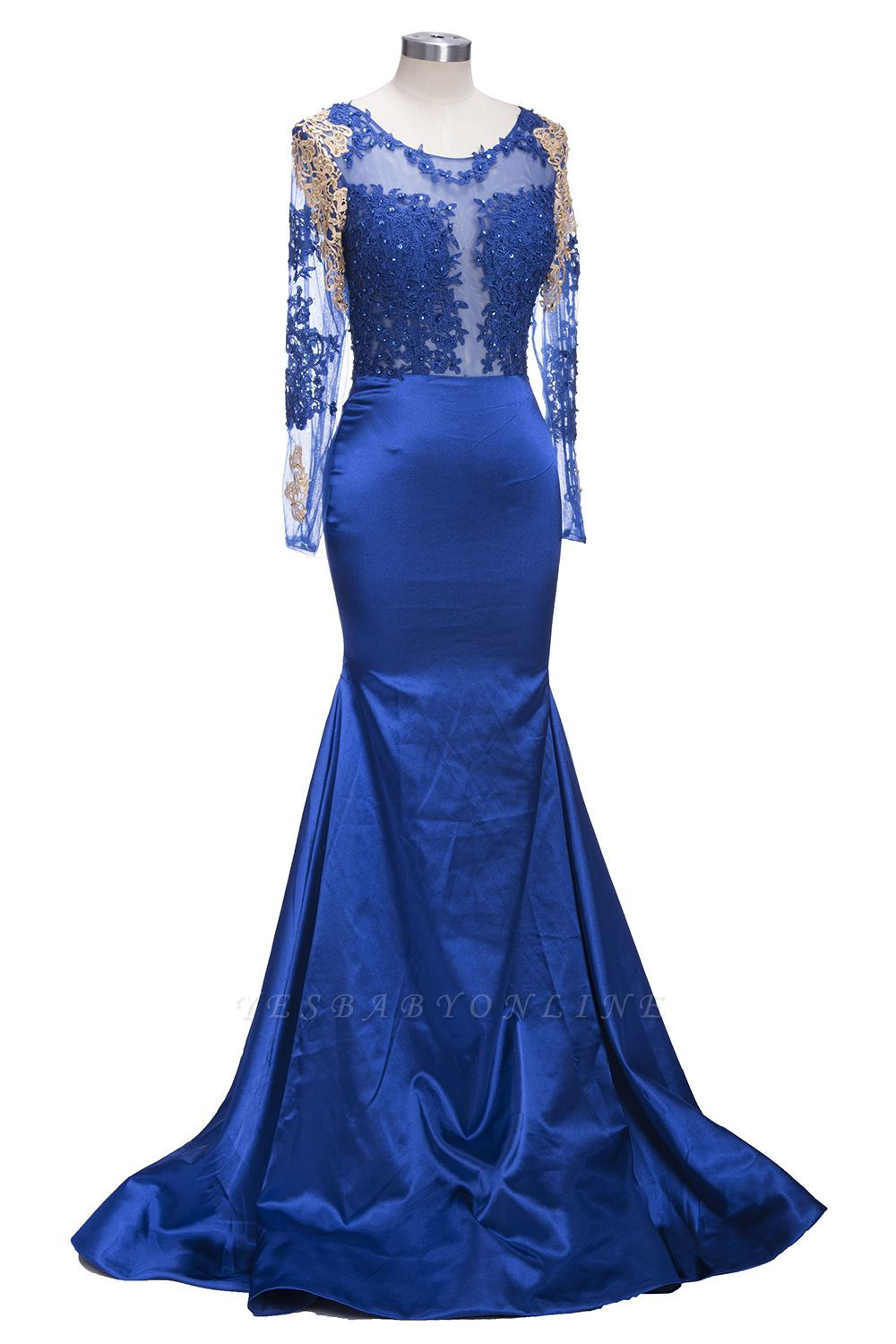 Gold-Appliques Navy-Blue Mermaid Long-Sleeves Sheer Prom Dresses