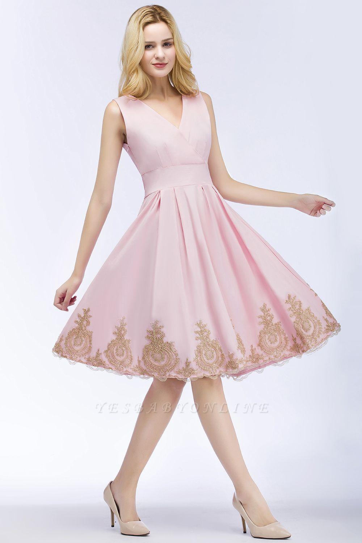 ROSEANNE   A-line V-neck Knee Length Sleeveless Appliques Homecoming Dresses