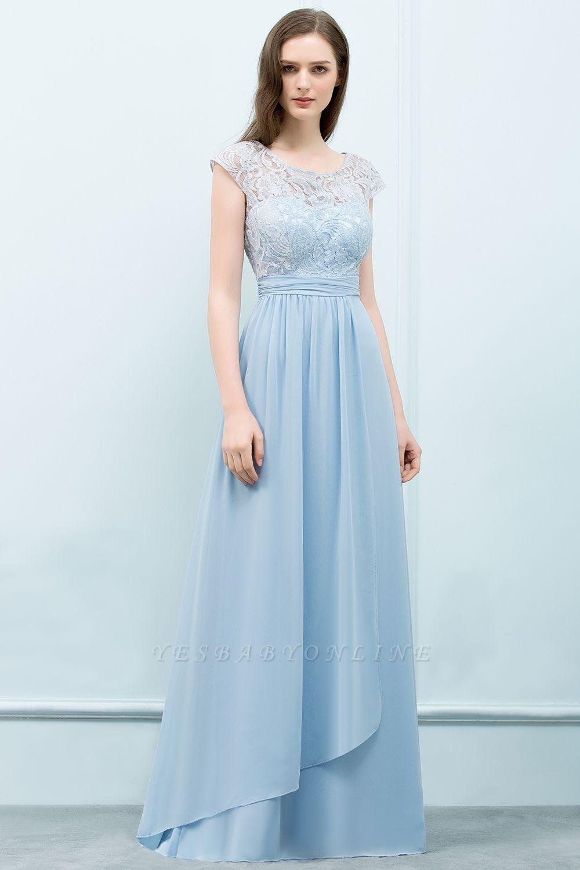 A-line  Lace Scoop Cap Sleeves Floor-Length Bridesmaid Dresses