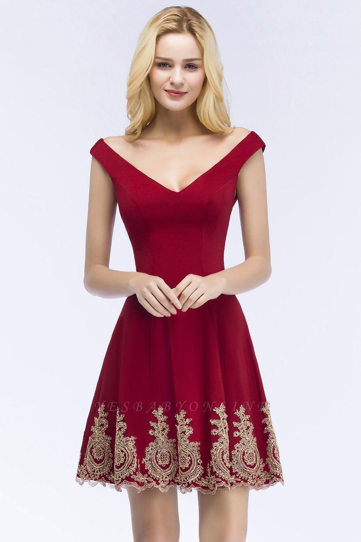 ROSE   A-line V-neck Short Off-shoulder Appliques Burgundy Homecoming Dresses