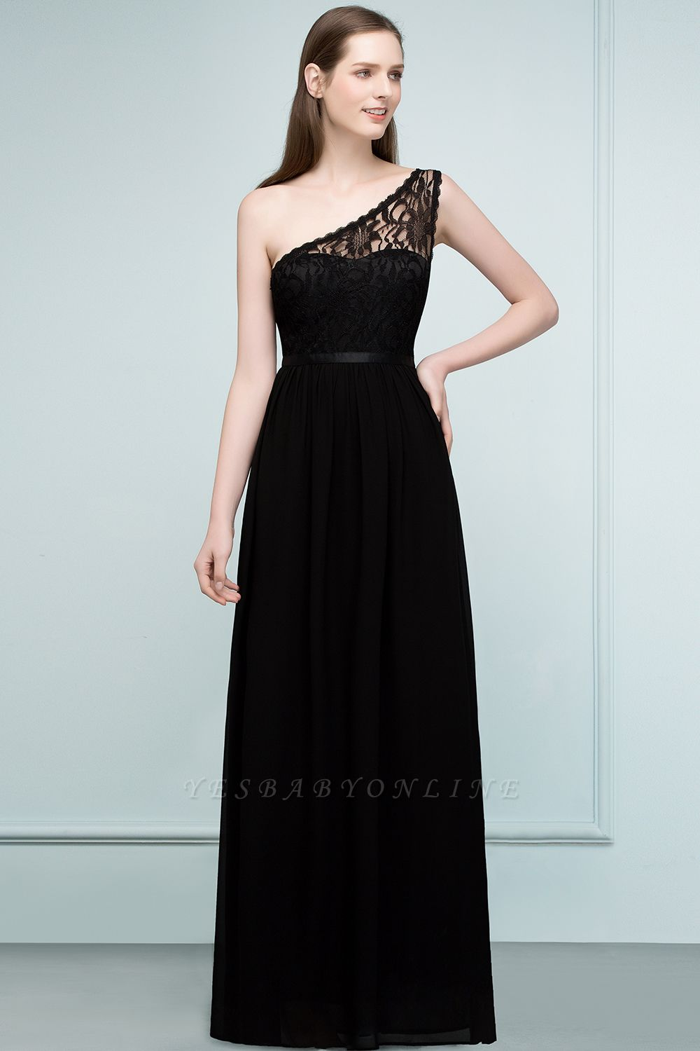SYBIL | A-line One-shoulder Long  Lace Chiffon Bridesmaid Dresses with Sash