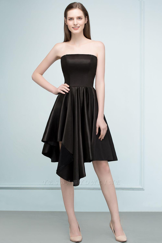 REA | A-line Strapless Short Ruffles Black Homecoming Dresses