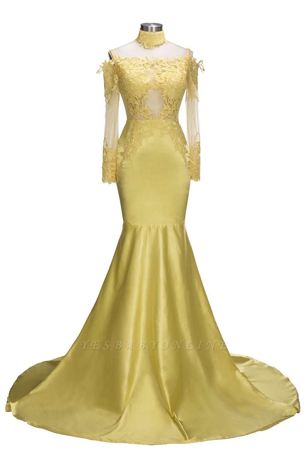Bright Yellow Mermaid Prom Dresses | Sexy Sheer Appliques Evening Dresses