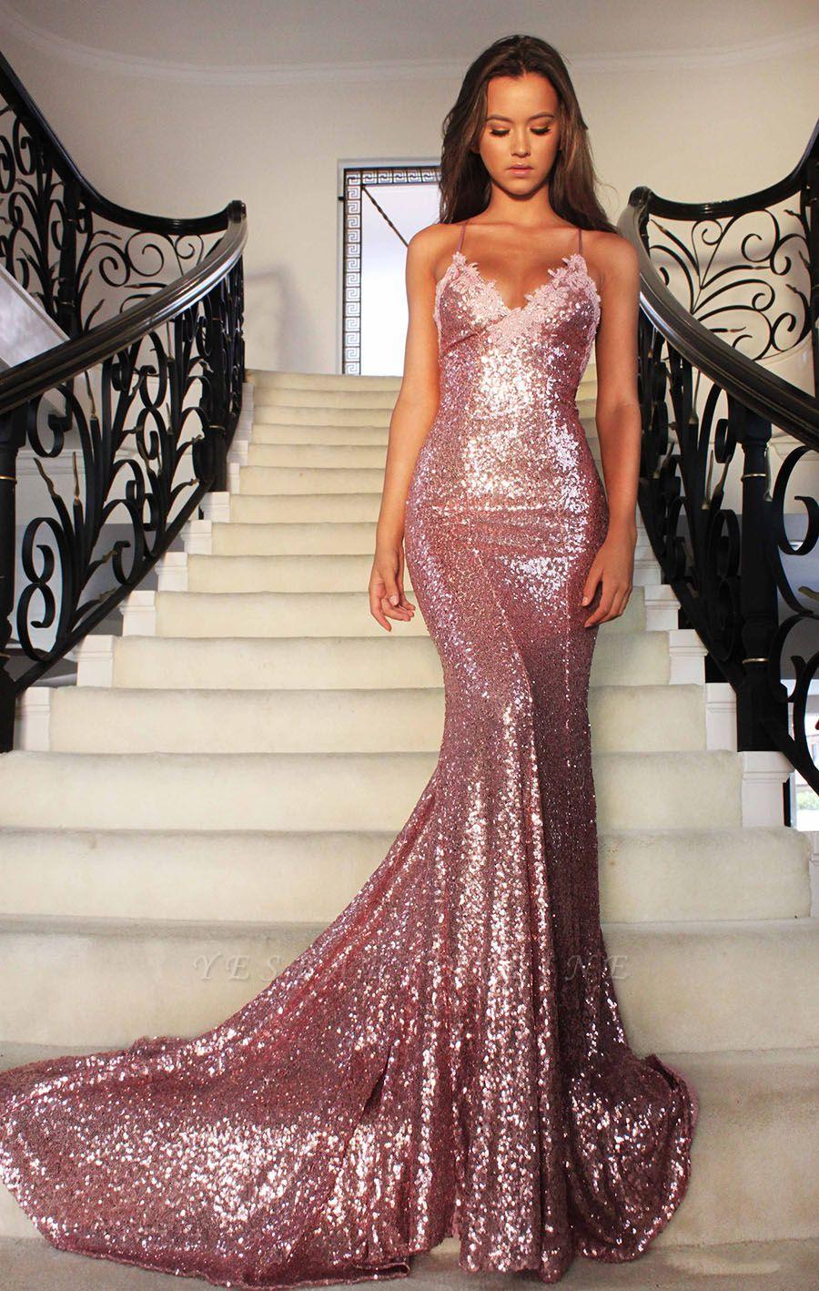 Spaghettis-Straps Rose Pink Sequins Prom Dresses | Sparkly Long Mermaid Formal Dress