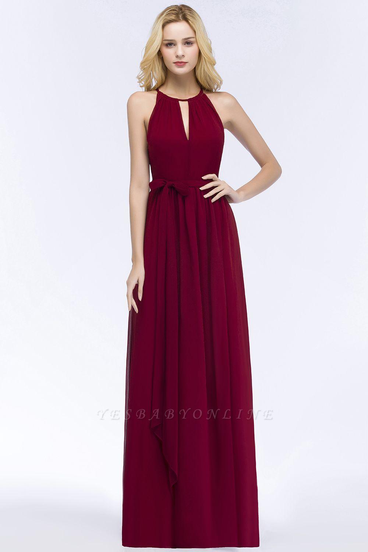A-line Halter Floor Length Burgundy Bridesmaid Dress with Bow Sash