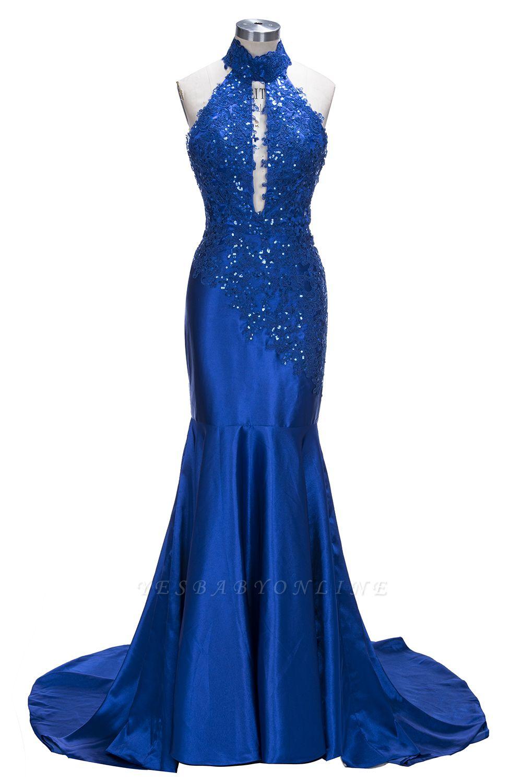 Sexy Blue Sleeveless Prom Dresses   Halter Backless Mermaid Evening Dresses