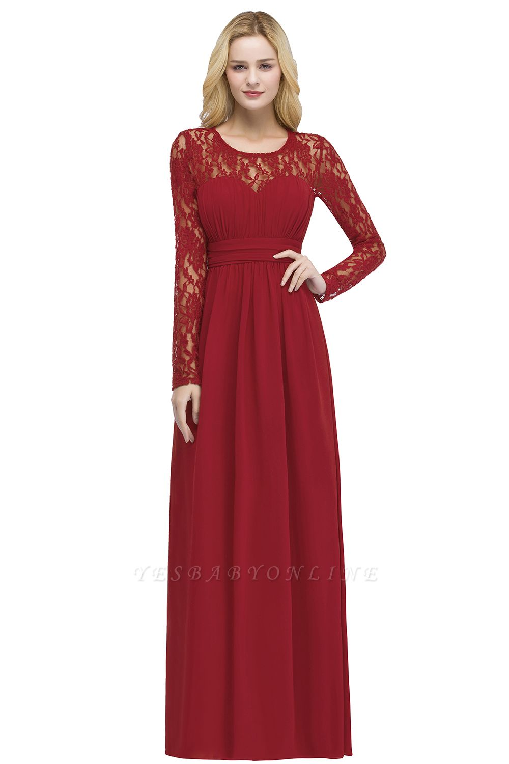 ROSALIE | A-line Floor Length Long Sleeves Lace Chiffon Bridesmaid Dresses