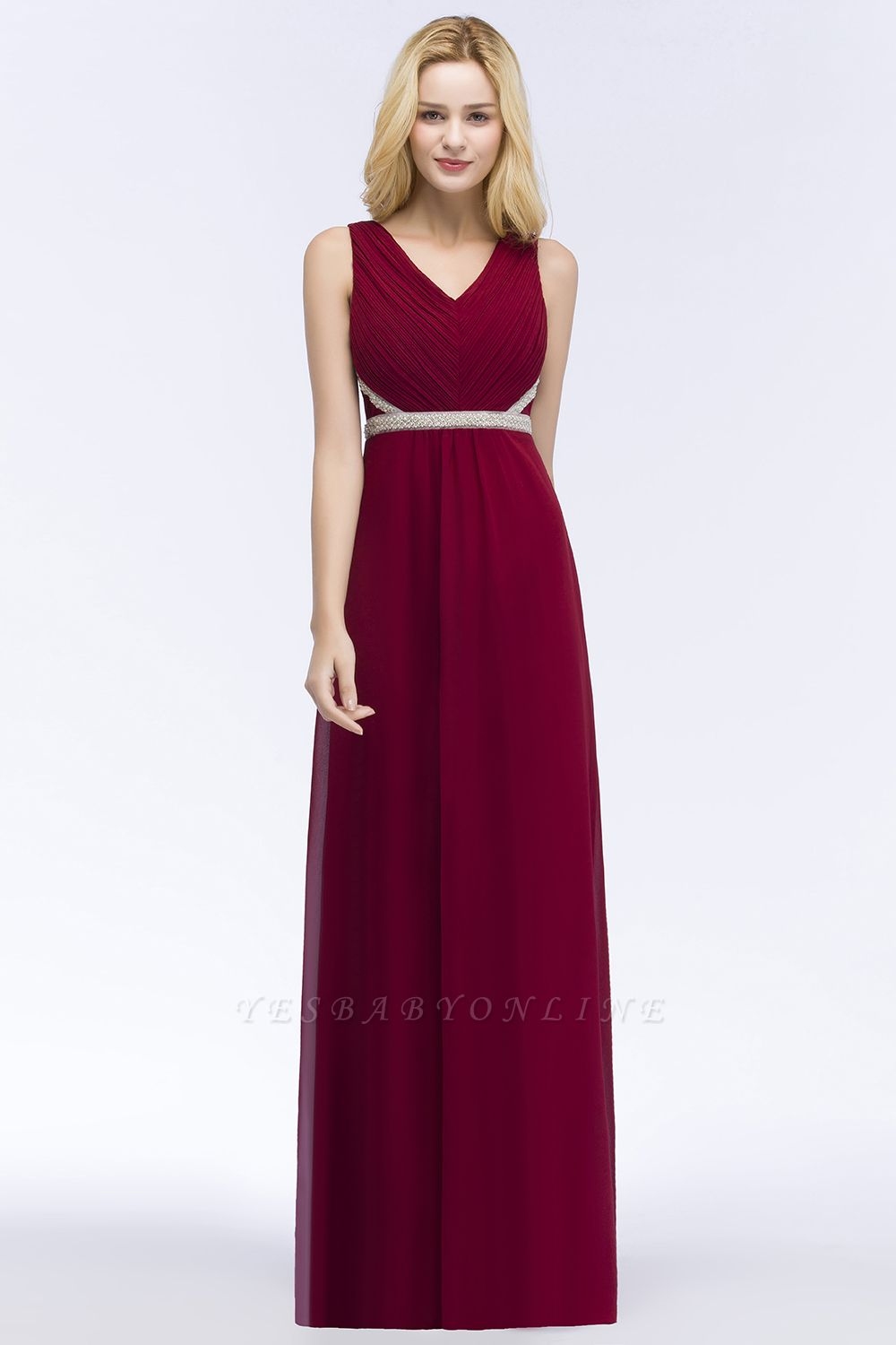 A-line Long Sleeveless V-neck Ruffled Chiffon Bridesmaid Dresses with Beading Sash