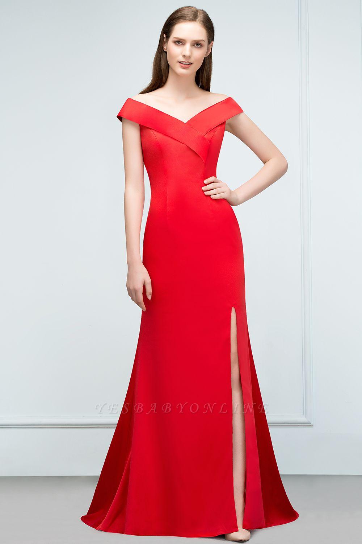 Mermaid Off-shoulder Floor Length Split Red Prom Dresses