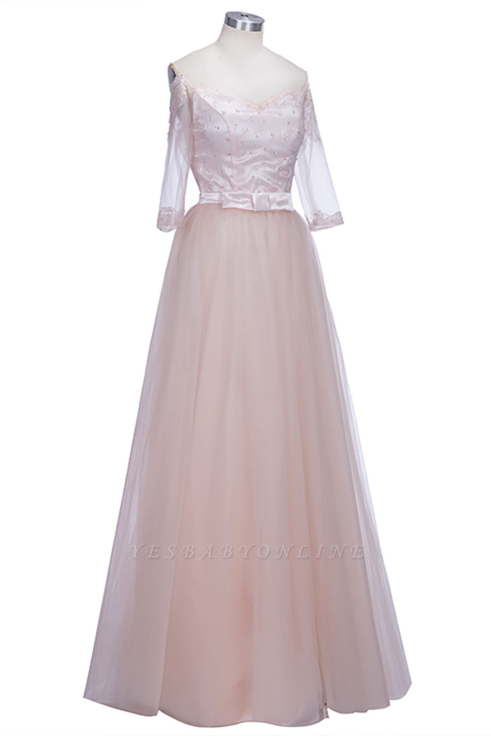 A-line Half-Sleeves Off-the-shoulder Tulle Glamorous Lace Prom Dresses