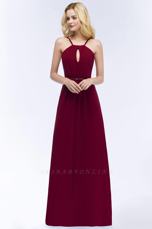 A-line Keyhole Neckline Spaghetti Bridesmaid Dress with Beading Sash In Stock