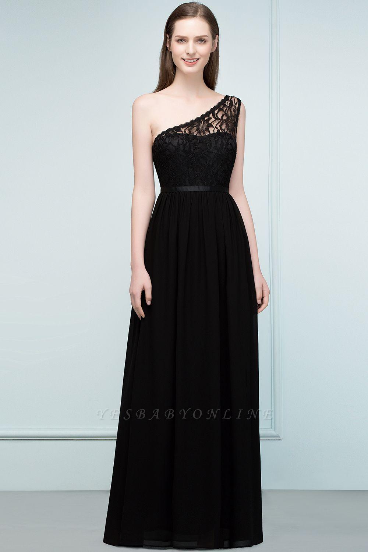 A-line  Lace One-shoulder Floor-length Bridesmaid Dress Floor Length with Sash