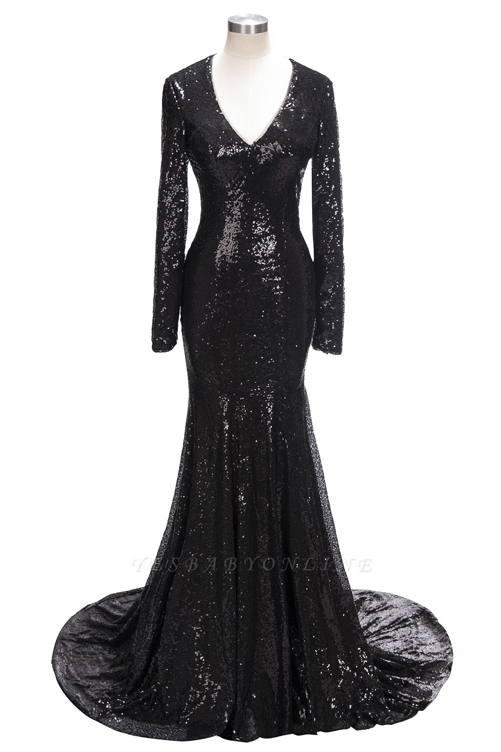 Mermaid Black Sequins Long-Sleeves Shiny V-Neck Prom Dresses