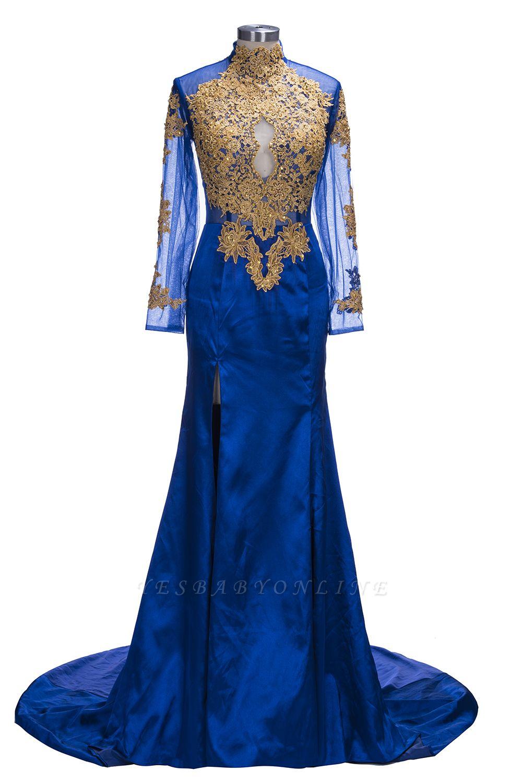 Gorgeous Royal Blue Prom Dresses | Gold Appliques Side Slit Mermaid Evening Dresses