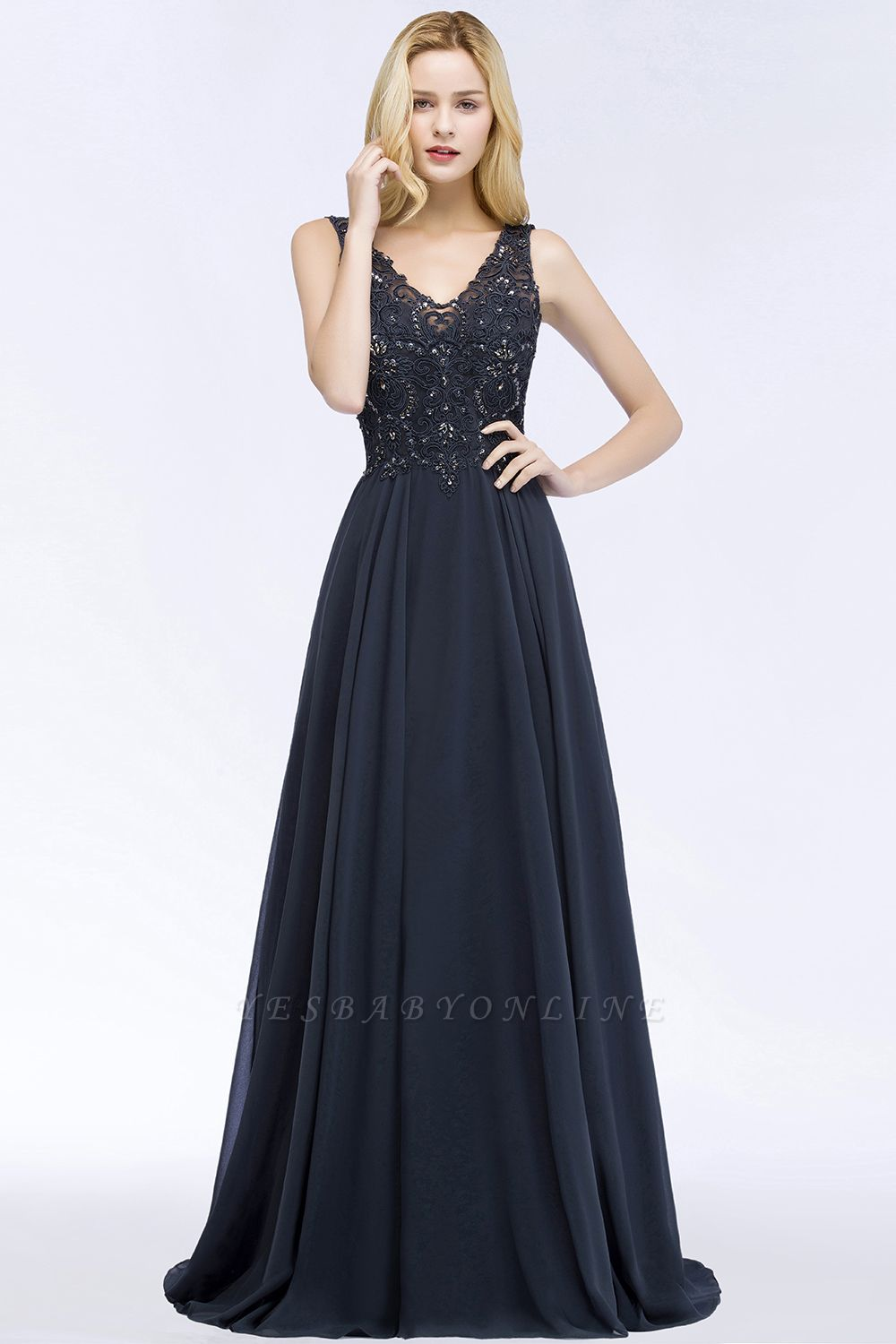 A-line  Appliques V-neck Sleeveless Floor-Length Bridesmaid Dresses with Crystals