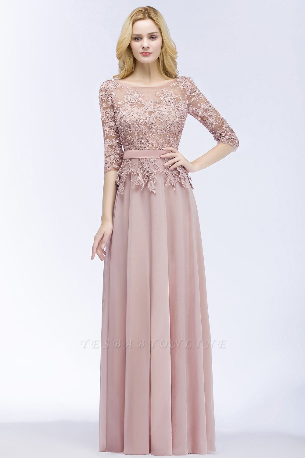 Cheap A-line Floor Length Half Sleeves Appliques Bridesmaid Dress with Sash in Stock