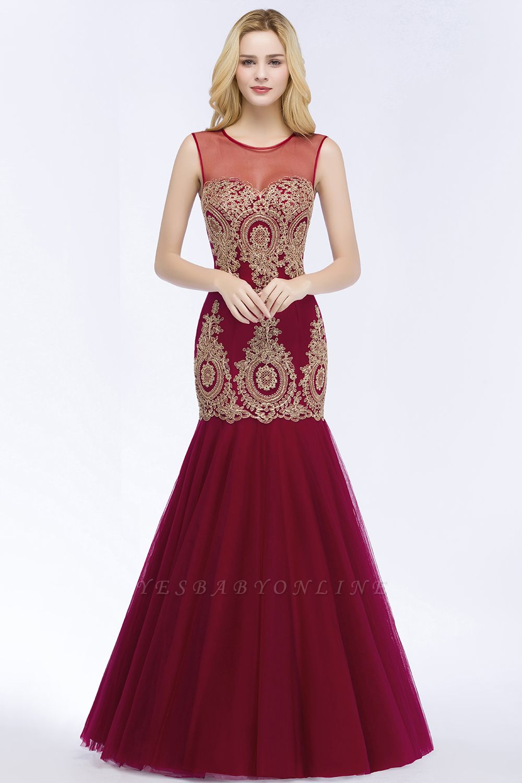 Mermaid Sleeveless Sheer Neckline Appliqued Burgundy Tulle Prom Dresses