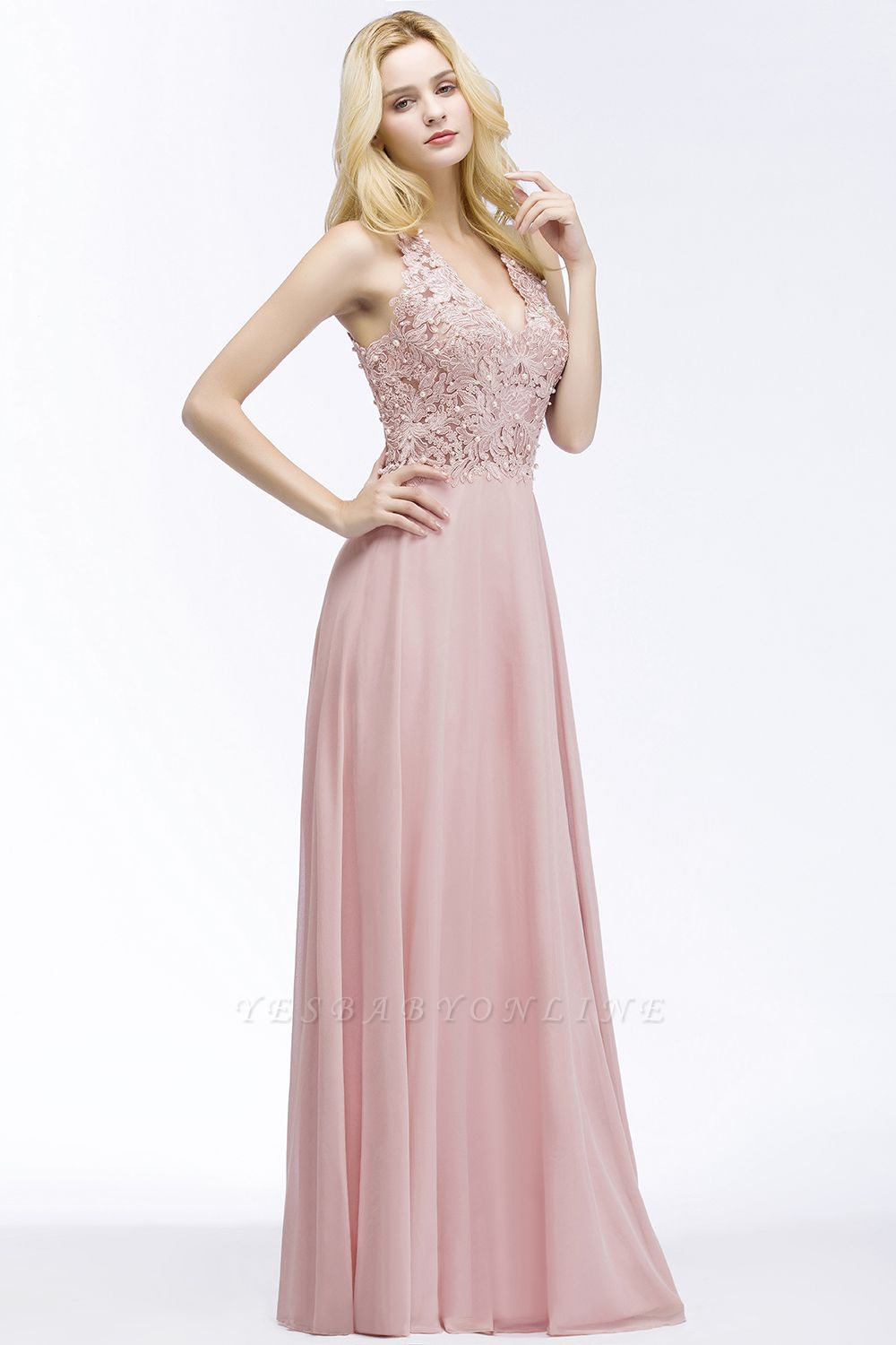 Cheap A-line V-neck Sleeveless Long Appliques Chiffon Bridesmaid Dress in Stock