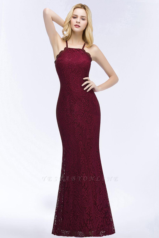 Mermaid Floor Length  Halter Lace Burgundy Bridesmaid Dresses