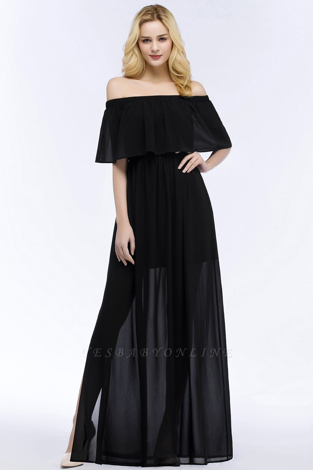 Cheap A-line Off-the-shoulder Floor Length Black Chiffon Bridesmaid Dress in Stock