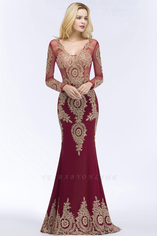 Mermaid V-neck Floor Length Long Sleeves Appliques Prom Dresses