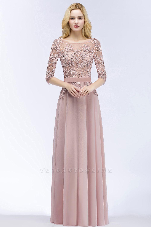A-line  Appliques Jewel Half-Sleeves Floor-Length Bridesmaid Dresses with Sash