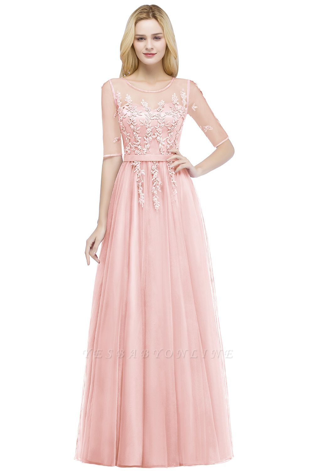 Cheap A-line Floor Length Appliques Tulle Bridesmaid Dress with Sleeves in Stock