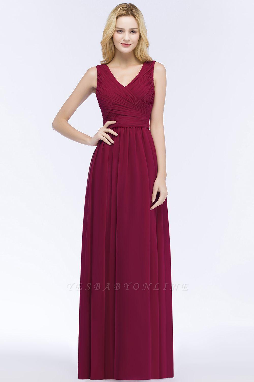 A-line Floor Length V-neck Sleeveless Ruffled Chiffon Bridesmaid Dresses