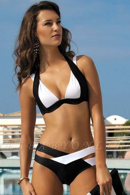 Colorful Solid Sexy Bikinis Polyamide Halter Swimwear