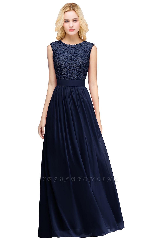 Elegant Sheath Crew Sleeveless Lace Top Chiffon Bridesmaid Dress