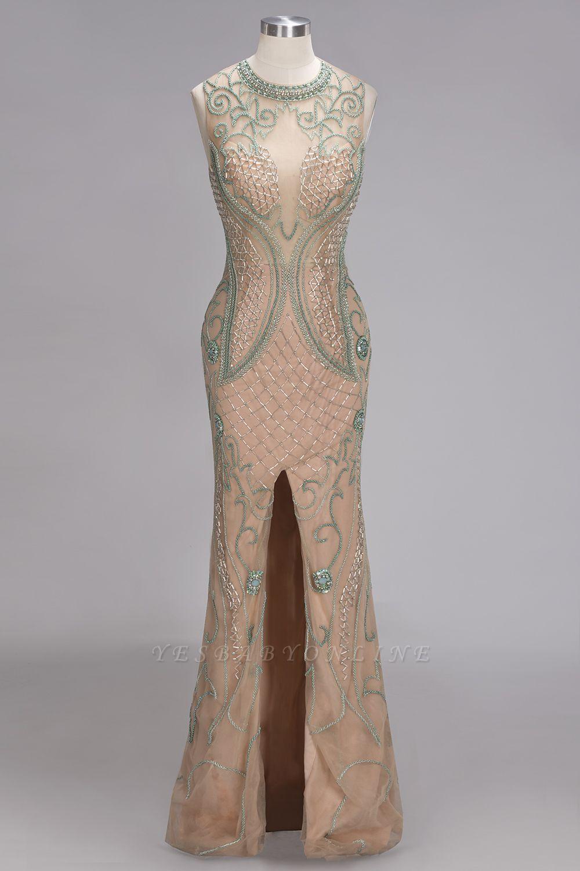 Glamorous Beadings Split Sleeveless Scoop Mermaid Prom Dress