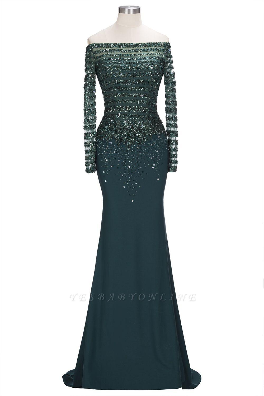 Sequins Mermaid Dark-Green off-the-Shoulder Long-Sleeves Evening Dress