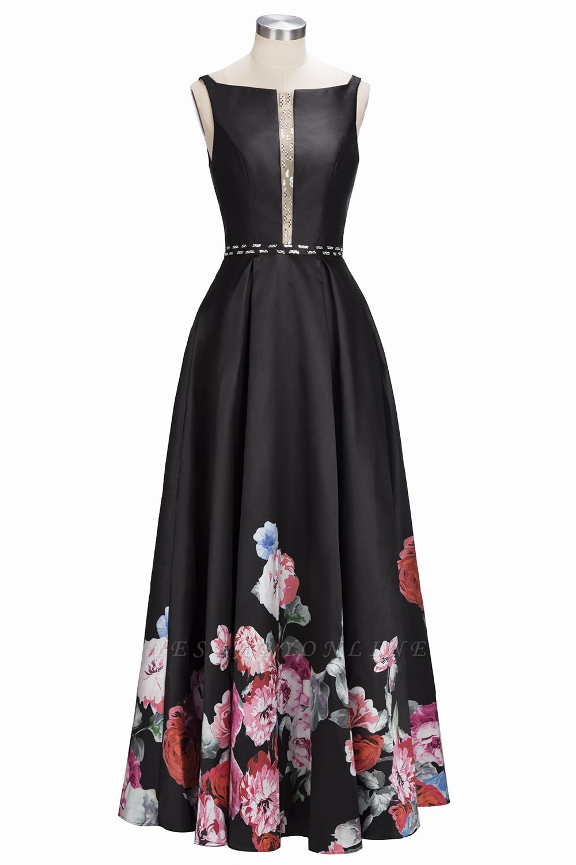 Black Floor-Length Sleeveless A-line Crystal Printing Evening Dress