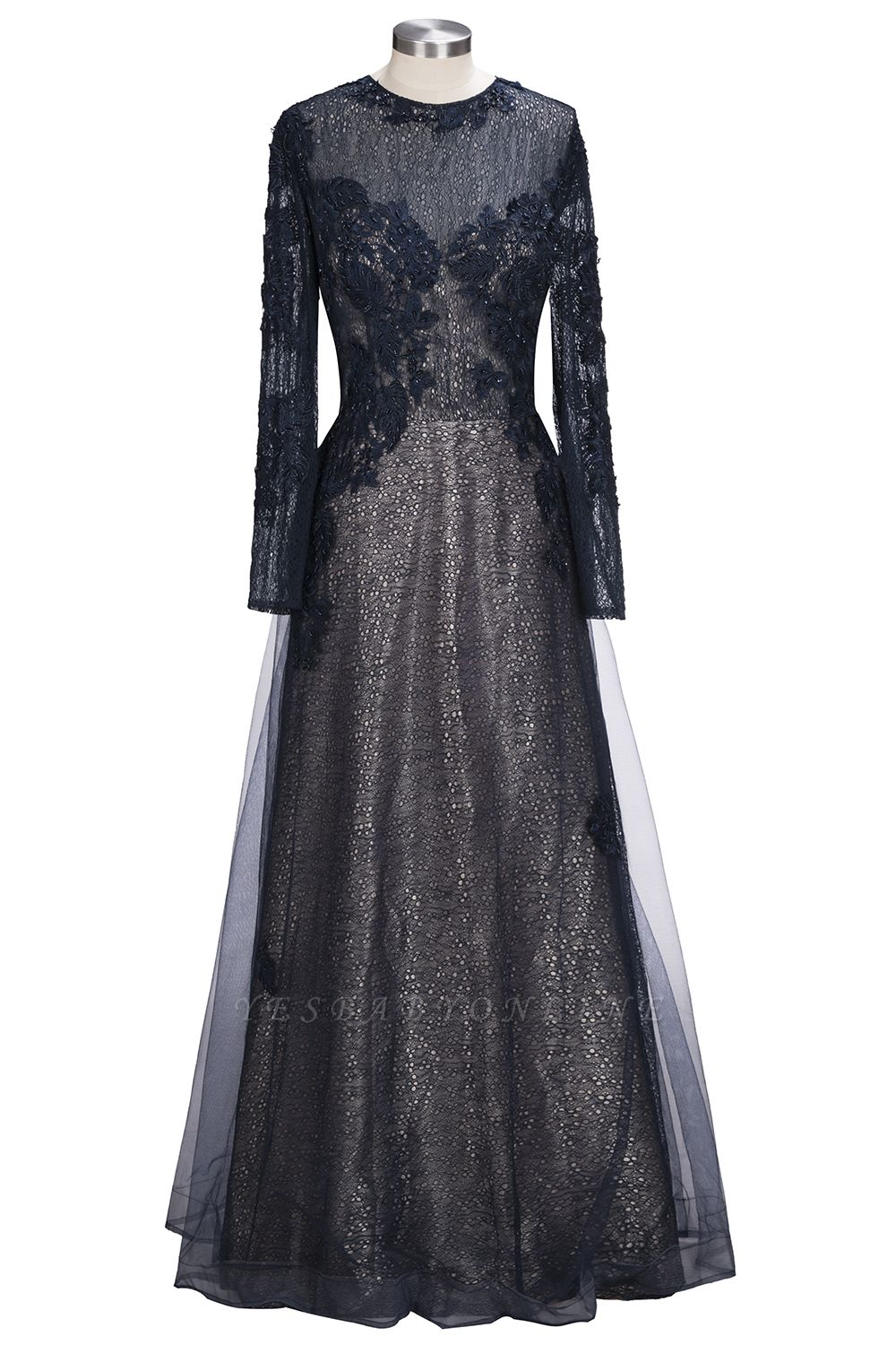 Black Scoop Long-sleeve Modern Lace-Appliques Evening Dress