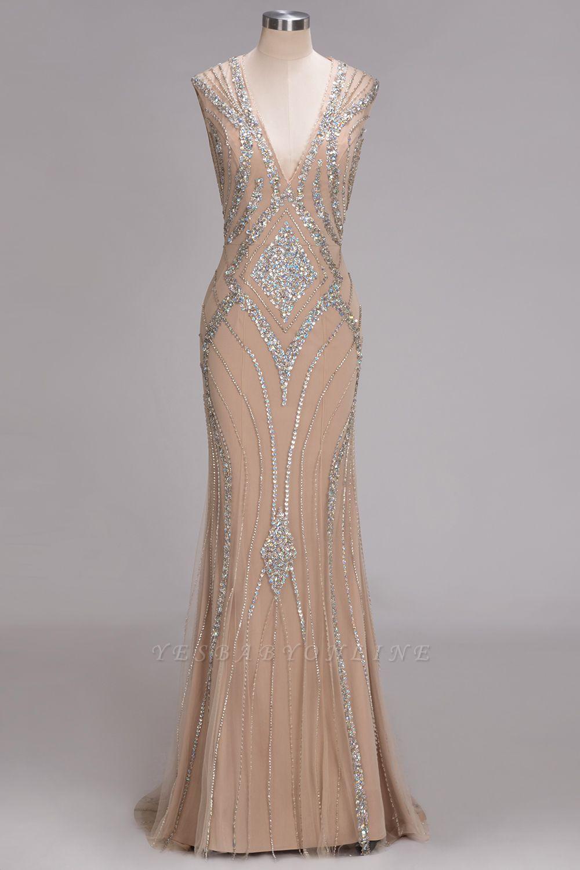 Sleeveless Crystal Beadings Gorgeous Mermaid Long V-Neck Prom Dress