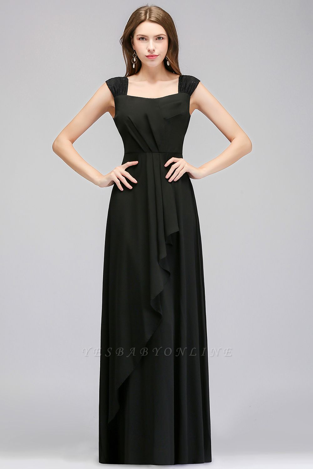 Black Cheap Long Ruffles Sleeveless Straps Evening Dress
