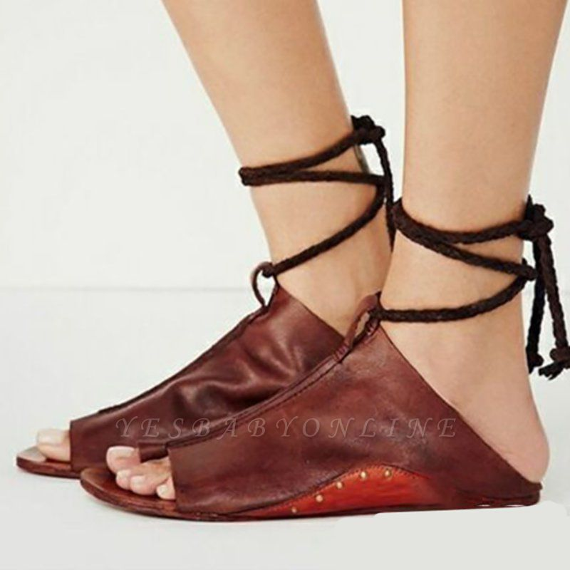 Braided Strap Daily Flat Heel Sandals