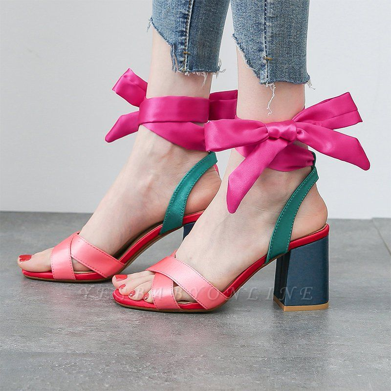 Fuchsia Bowknot Daily Chunky Sandals