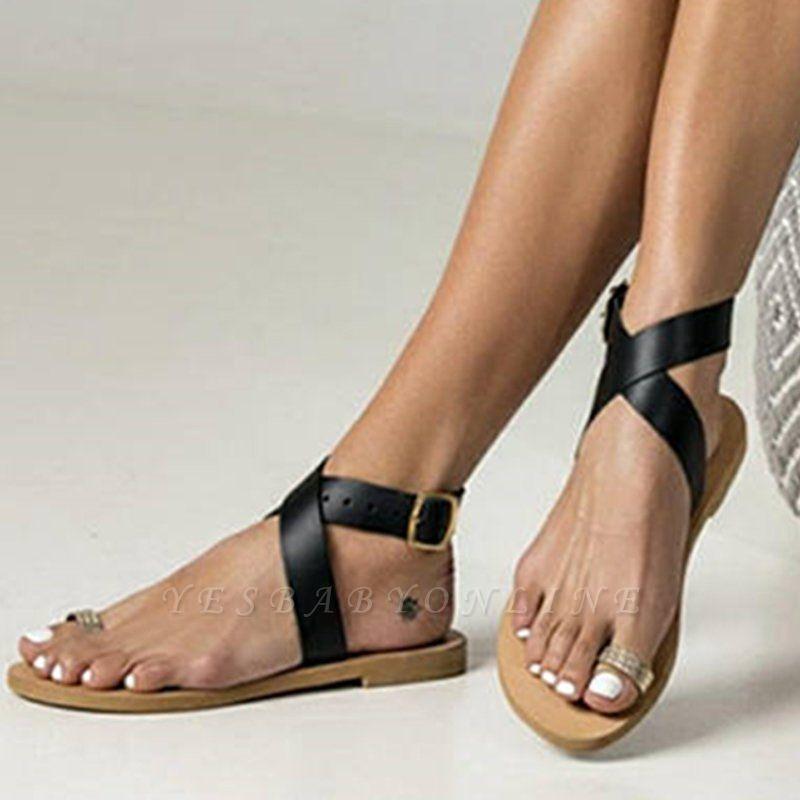 Flat Heel Buckle Open Toe Sandals