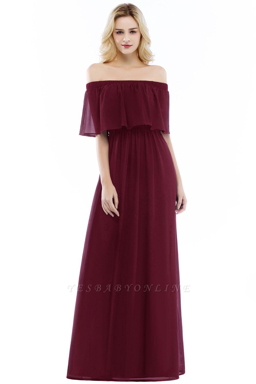 A-line  Off-the-Shoulder Short-Sleeves Ruffles Floor-length Bridesmaid Dress