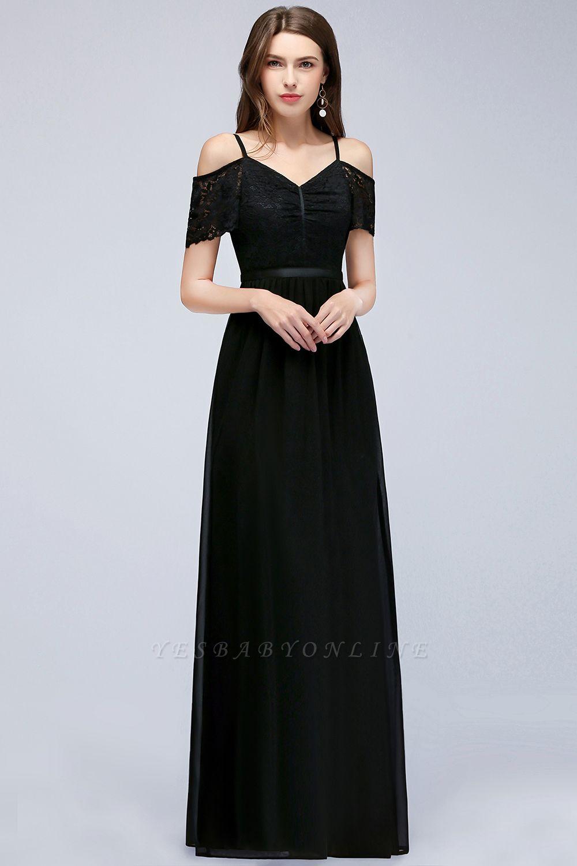 A-line  Lace V-Neck Off-the-shoulder Sleeveless Floor-Length Bridesmaid Dresses