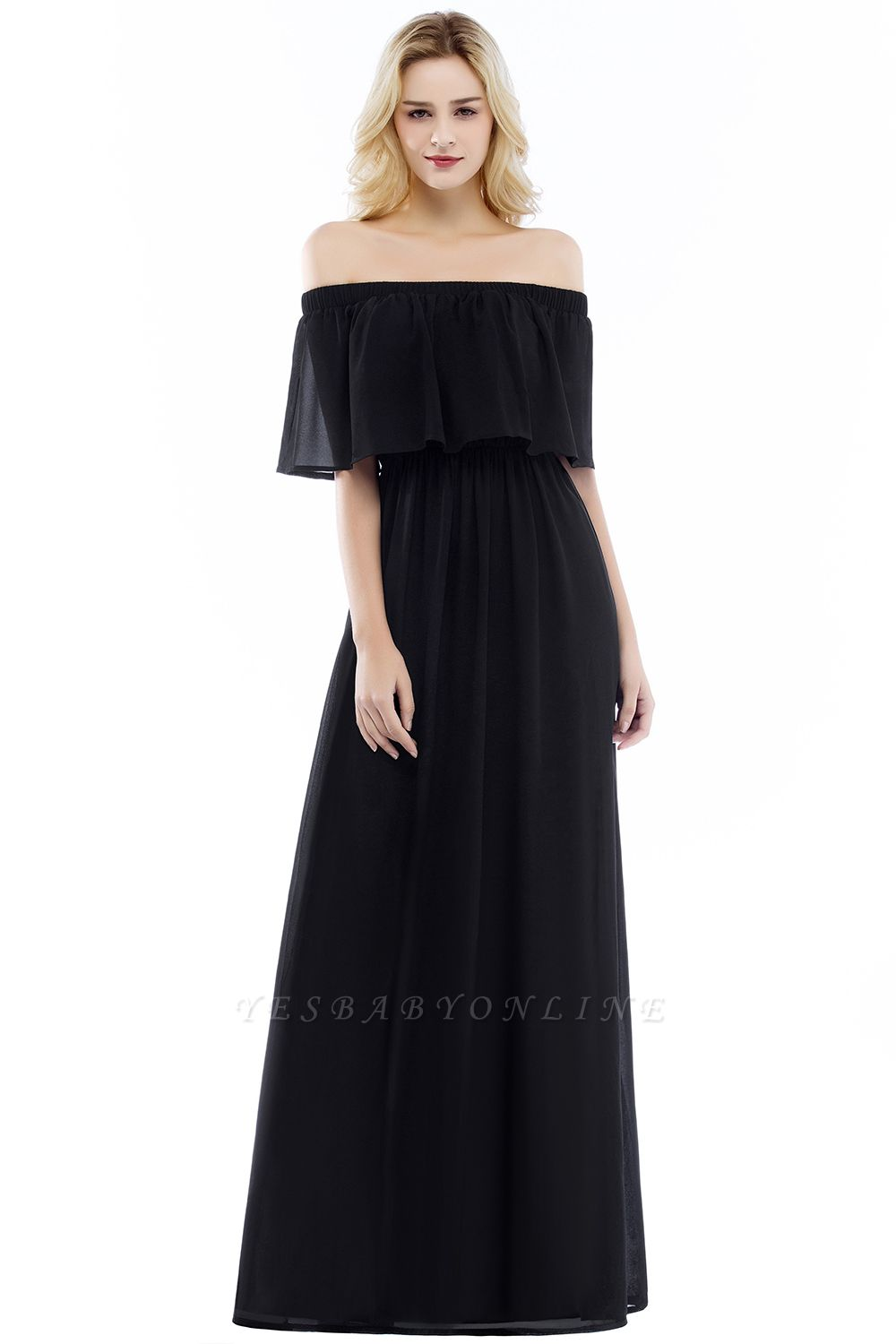 Cheap A-line Off-the-Shoulder Chiffon Bridesmaid Dress in Stock
