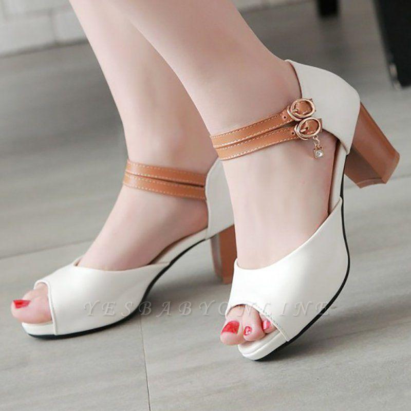 Date Buckle Peep Toe Sandals