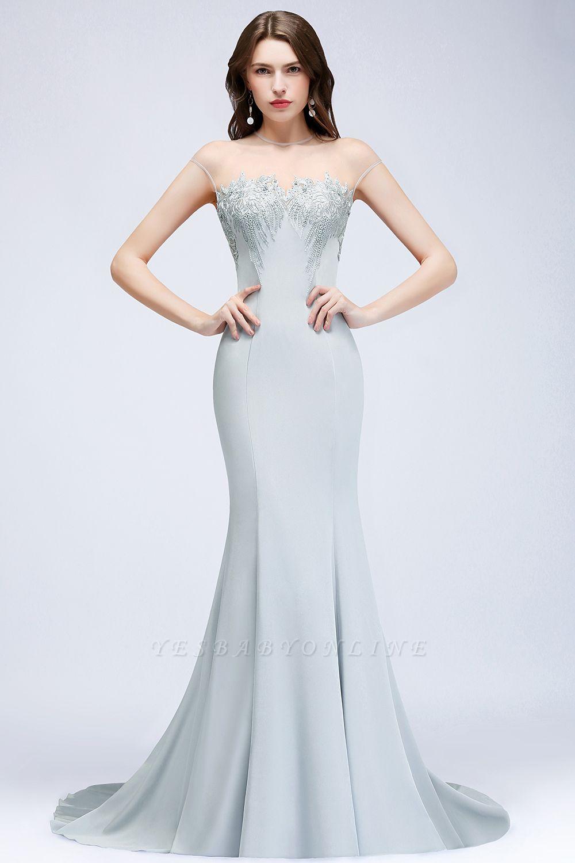 Elegant Cap-Sleeves Beading Sheer-Neck Mermaid Bridesmaid Dresses