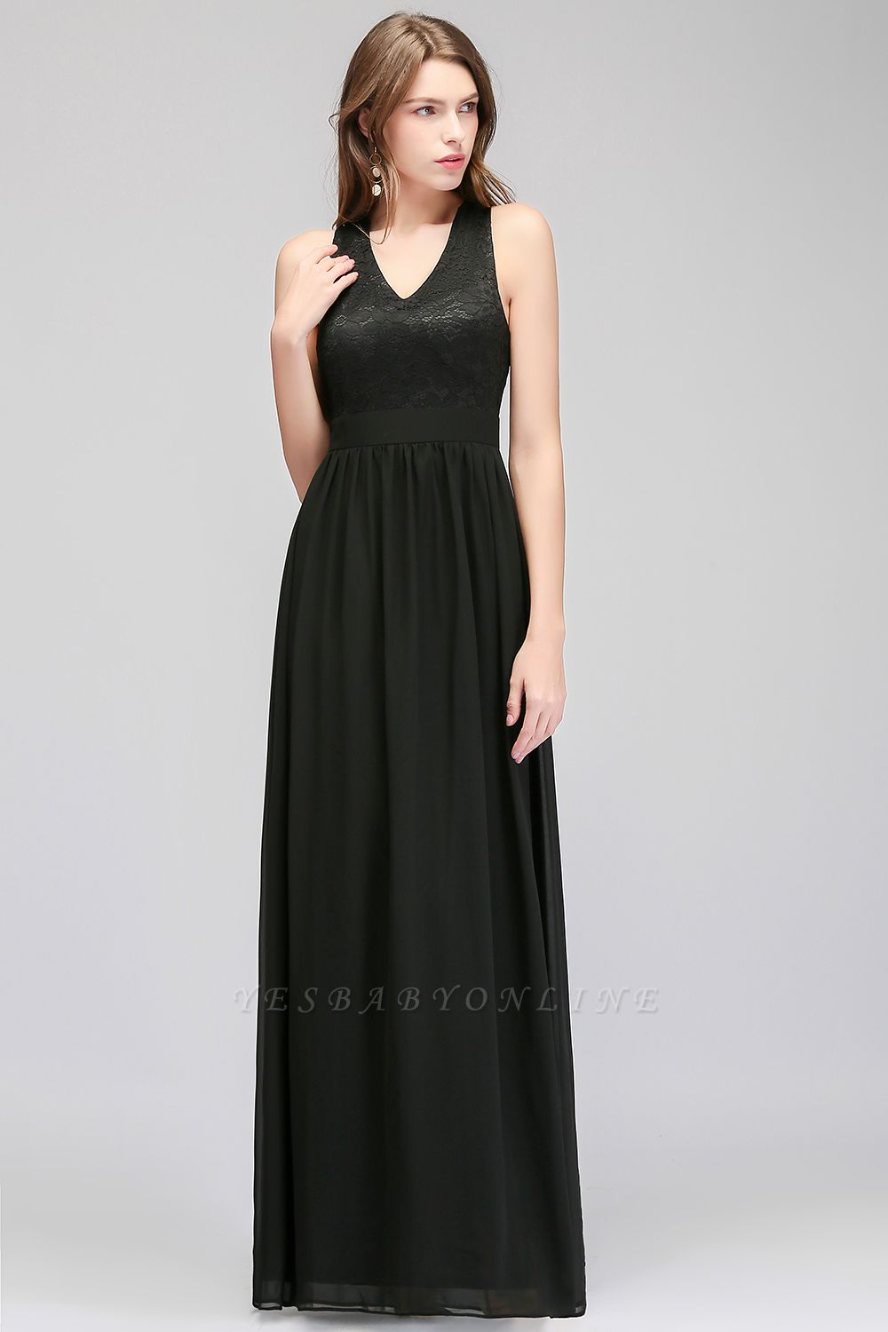 Crisscross Lace A-line  V-Neck Black Evening Dress