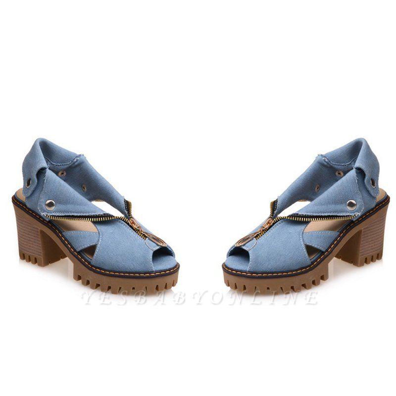 Denim Peep Toe Platform Women Chunky Sandals